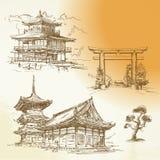 Kyoto, Nara, eredità giapponese illustrazione di stock