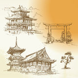 Kyoto, Nara, japanese heritage. Hand drawn collection Royalty Free Stock Photography