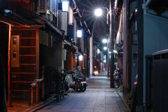 kyoto natt Fotografering för Bildbyråer