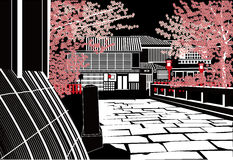 Kyoto in Night. Kyoto and Cherry tree in Night vector illustration
