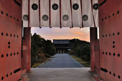 Kyoto Ninnaji temple gate at sunset Stock Photo