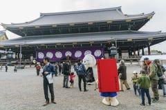 The beautiful Higashi Hongan-ji and cute costume Stock Photo