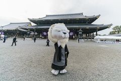 The beautiful Higashi Hongan-ji and cute costume Royalty Free Stock Photography