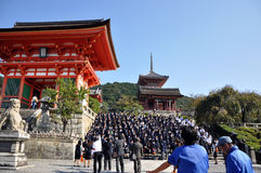 KYOTO- OCT 21: Field visit at Koyomizu temple, a famous tourist Royalty Free Stock Photos