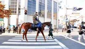 KYOTO - OCT 22: deelnemers op Jidai Matsuri Royalty-vrije Stock Afbeelding
