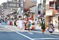 KYOTO - OCT 22: Participants at The Jidai Matsuri. (Festival of the Ages) held on October 22, 2012 in Kyoto, Japan. It is one of Kyoto's renowned three great Royalty Free Stock Photos