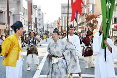KYOTO - OCT 22: Participants at The Jidai Matsuri. (Festival of the Ages) held on October 22, 2012 in Kyoto, Japan. It is one of Kyoto's renowned three great Royalty Free Stock Photo