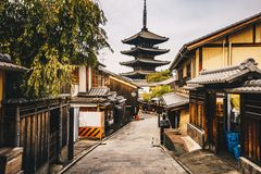 Kyoto old city streets in Higashiyama District of Kyoto, Japan. stock photography