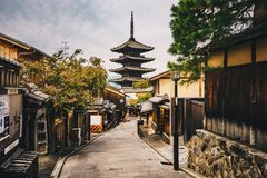 Kyoto old city streets in  Higashiyama District of Kyoto, Japan. Zen Buddha temple in Kyoto Royalty Free Stock Images