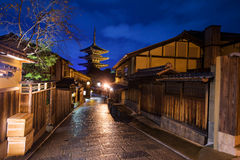 Kyoto old city and Yasaka Pagoda at dusk Royalty Free Stock Photography