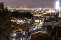 Kyoto på natten Arkivfoton