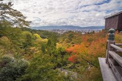 Kyoto Panorama in autumn in the distance from Kiyomizu-dera Buddhist temple in Japan. Kyoto Panorama in autumn in the distance, view from Kiyomizu-dera, the royalty free stock photography