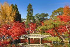 Kyoto at the pond and bridge of Eikando Temple in the Autumn Royalty Free Stock Photo