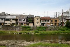 Kyoto Residential Area. A quiet residential area on Kamo River, Kyoto, Japan Stock Photo