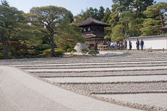 Kyoto rocks garden and silver pavilion Royalty Free Stock Photo