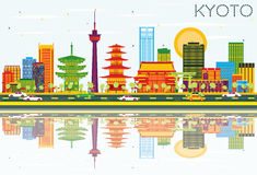 Kyoto Skyline with Color Buildings, Blue Sky and Reflections. Vector Illustration. Business Travel and Tourism Concept with Historic Architecture. Image for vector illustration