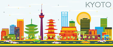 Kyoto Skyline with Color Buildings and Blue Sky. Vector Illustration. Business Travel and Tourism Concept with Historic Architecture. Image for Presentation vector illustration