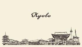Kyoto skyline, Japan vector city drawn sketch. Kyoto skyline, Japan, vintage engraved illustration, hand drawn sketch vector illustration