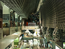Kyoto Station, modern architecture. Kyoto Station at night. This is a comprehensive modern architecture, you can shop and  eat and entertainment inside. In Kyoto Royalty Free Stock Photos