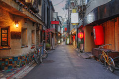 Kyoto street, Japan. A charming and typical narrow street in the Pontocho area of downtown Kyoto, Japan at dusk