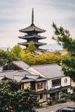 Kyoto streets and Yasaka Pagoda in Higashiyama District, Japan stock images