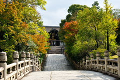 Kyoto temple entrance in autumn. Kyoto temple entrance autumn season. View from the bridge Stock Photos