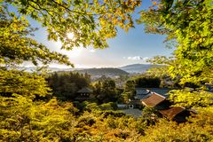 Kyoto temples in autumn with temples an japanese garden visible Royalty Free Stock Image