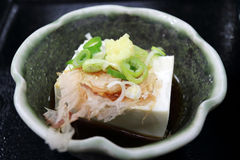 Kyoto Tofu. Tofu side dish decorated with ginger, spring onion and cuttle fish gross in Kyoto Stock Images