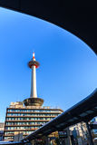 Kyoto tower with blue sky in Japan. Royalty Free Stock Image