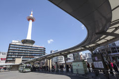 Kyoto Tower and Bus Terminal Royalty Free Stock Photo