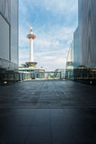 Kyoto Tower Framed Unique View Sunny Daytime Royalty Free Stock Photography
