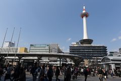 Kyoto Tower in Japan. Kyoto Tower is an observation tower in Kyoto, Japan. This tower opening since December 28, 1964 Royalty Free Stock Photography