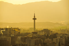 Kyoto Tower, Japan skyline at dusk Royalty Free Stock Photography