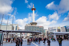 Kyoto Tower and Kyoto Tower Hotel viewed from Kyoto station Stock Photos