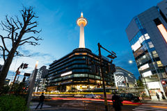 Kyoto Tower at night. Stock Images
