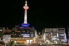 Kyoto Tower. Night scene of Kyoto Tower viewed from Kyoto JR Railway station. Kyoto, Japan Stock Photo