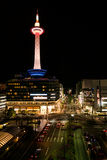 Kyoto Tower. Night scene of Kyoto Tower viewed from Kyoto JR Railway station. Kyoto, Japan Stock Images