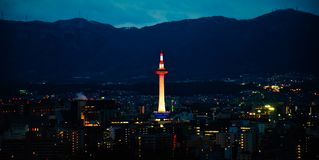 Kyoto Tower at Night stock images