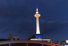 Kyoto tv tower. From below by late evening Stock Photography