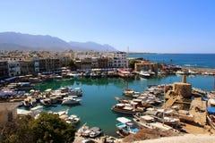 塞浦路斯, kyrenia,小游艇船坞 免版税库存照片