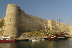Kyrenia Castle. And harbor in Kyrenia, North Cyprus royalty free stock photography