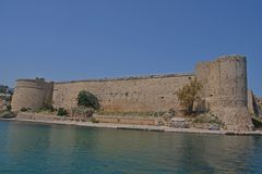 Kyrenia Castle, Kyrenia (Girne), Northern Cyprus. Kyrenia castle is a medieval harbour fortress. Romantic and mysterious, makes huge impression. View from the stock photos