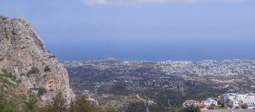 Kyrenia city in Cyprus. St. Hilarion Castle in Kyrenia, North Cyprus. And panoramic view on Kyrenia city and sea stock image