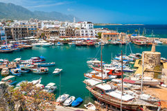 KYRENIA, CYPRUS - APRIL 26, 2014 - View of a historic harbour an Royalty Free Stock Photo