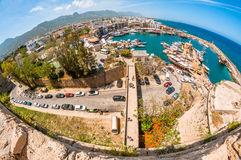 KYRENIA, CYPRUS - FEBRUARY 21: View of Kyrenia harbour from cast Royalty Free Stock Photo