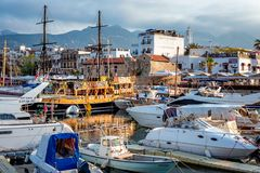 KYRENIA, CYPRUS - MAY 05, 2017: Boats, yachts and sailing boats Stock Images