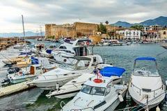 Kyrenia or Girne historical city center, view to marina with ma stock photos