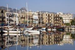 Kyrenia hamn - turkisk republik av nordliga Cypern Arkivfoto