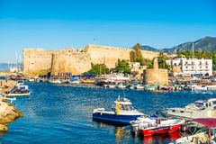 Kyrenia harbour with medieval castle on a background. Kyrenia (Girne), Cyprus stock photos