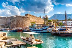 Kyrenia harbour overlooked by the castle. Kyrenia, Cyprus Stock Image